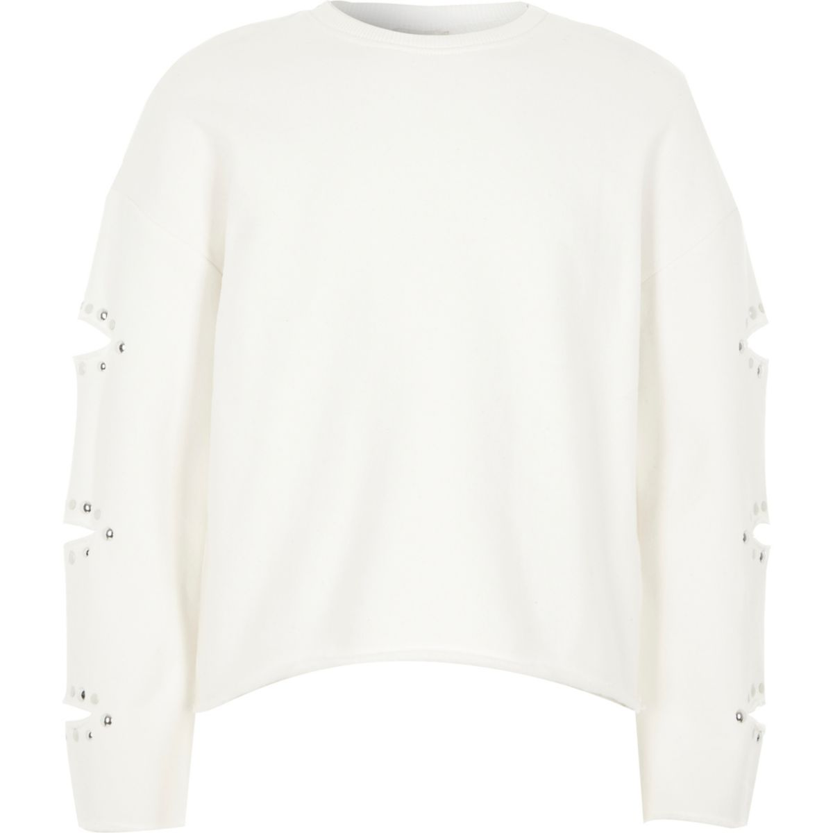 Girls White Split Sleeve Heatseal Sweatshirt by River Island