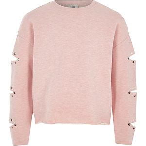Roze sweatshirt met gescheurde mouwen en studs voor meisjes