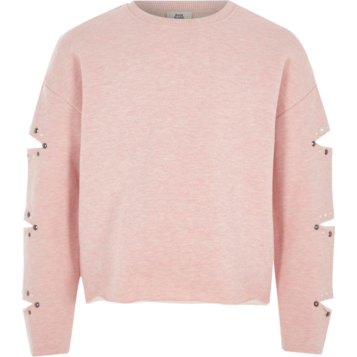 Girls pink slash sleeve studded sweatshirt