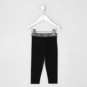 Mini girls black RI print waistband leggings