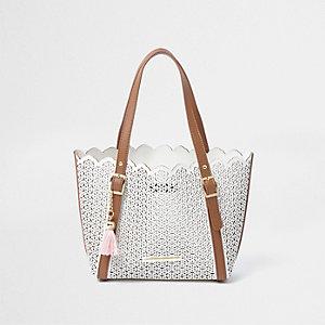 Witte laser-cut handtas met zij-inzetten voor meisjes