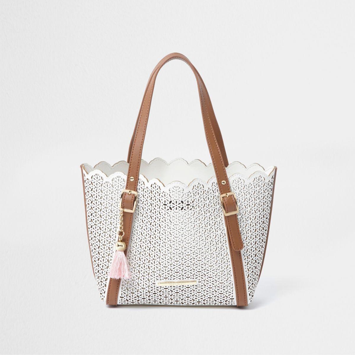 Girls white laser cut winged tote bag