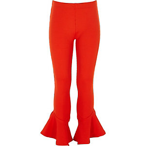 Girls red rib frill hem leggings