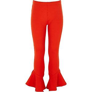Rode geribbelde leggings met ruches aan de zoom voor meisjes