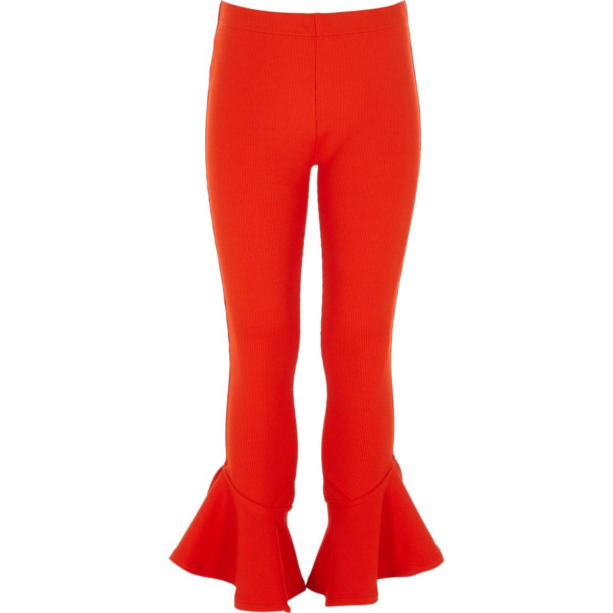 Girls red rib frill hem leggings