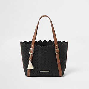 Girls black laser cut winged tote bag