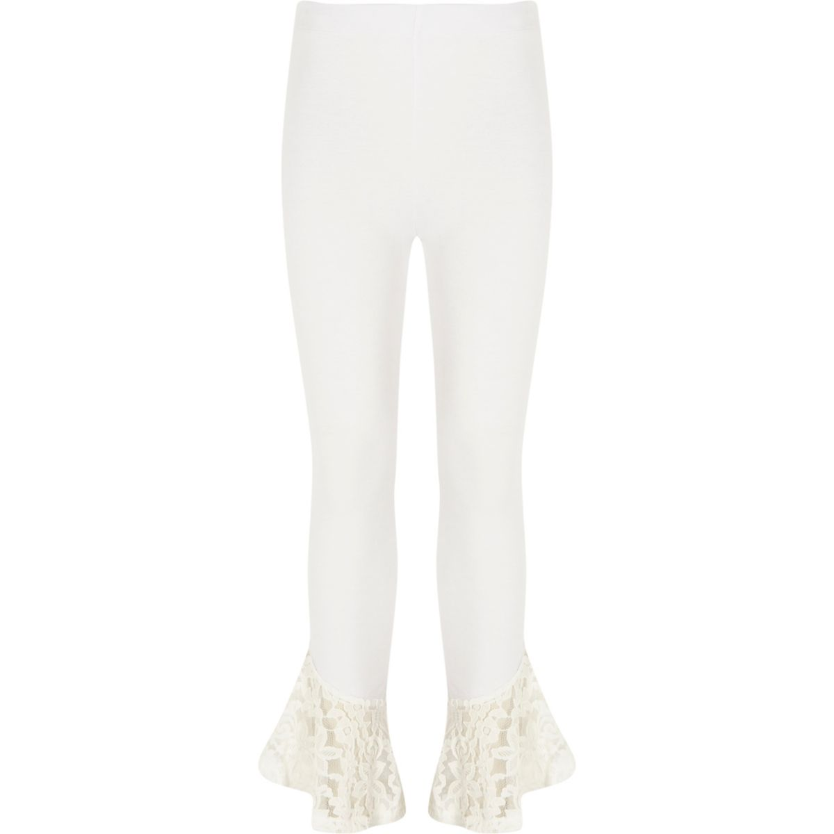 Girls white lace frill hem leggings
