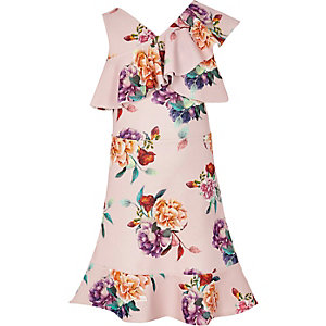 Girls pink floral one shoulder frill dress