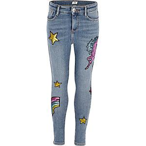 Amelie - Blauwe geborduurde jeans met eenhoornprint voor meisjes