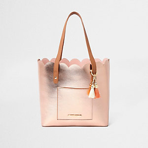 Girls rose gold scallop shopper tote bag