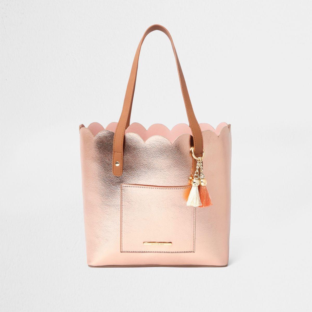 Girls rose gold scallop shopper tote bag