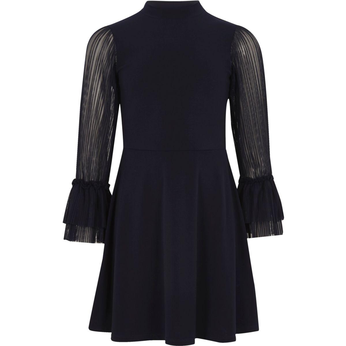 Girls navy pleated mesh sleeve skater dress