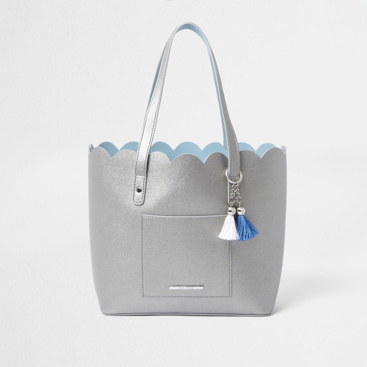 Girls silver scallop shopper tote bag