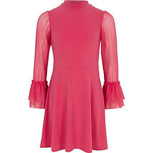 Girls pink pleated mesh sleeve skater dress
