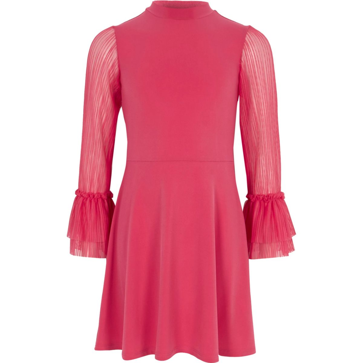 Girls pink pleated mesh sleeve skater dress