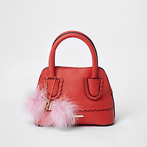 Girls red scallop trim pom pom tote bag