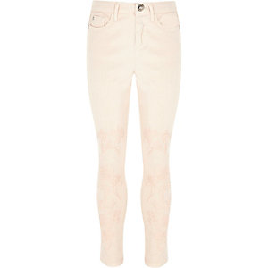 Amelie – Pinke, verzierte Skinny Jeans