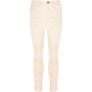 Amelie - Roze geborduurde skinny jeans voor meisjes
