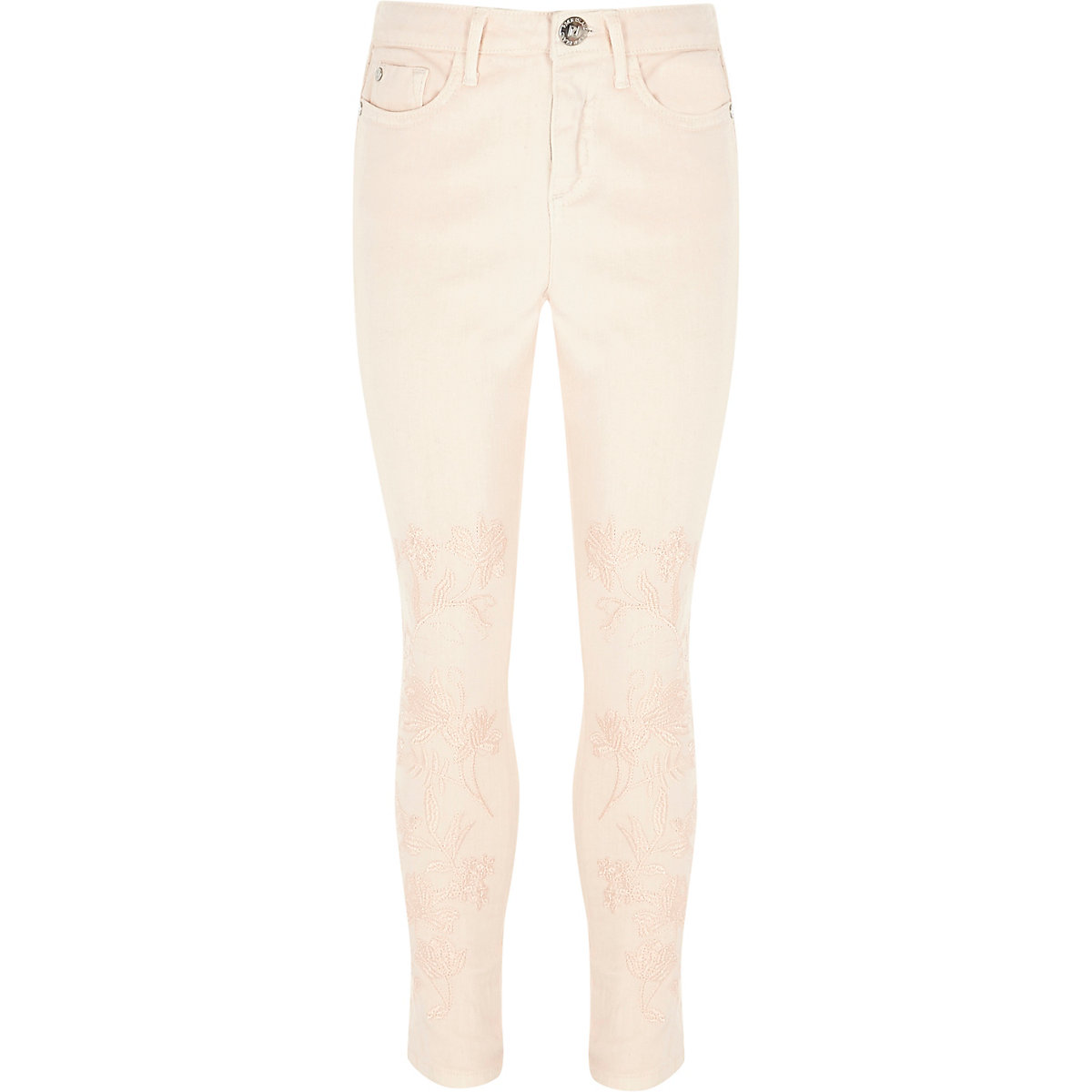 Girls pink Amelie embroidered skinny jeans