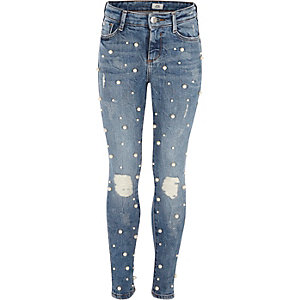 Girls blue Amelie pearl embroidered jeans
