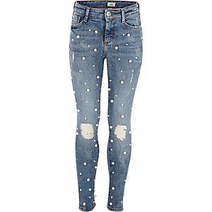 Amelie - Blauwe geborduurde jeans met pareltjes voor meisjes