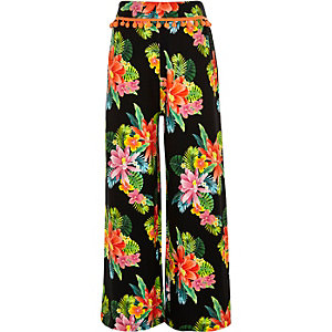 Girls black wide leg floral print pants