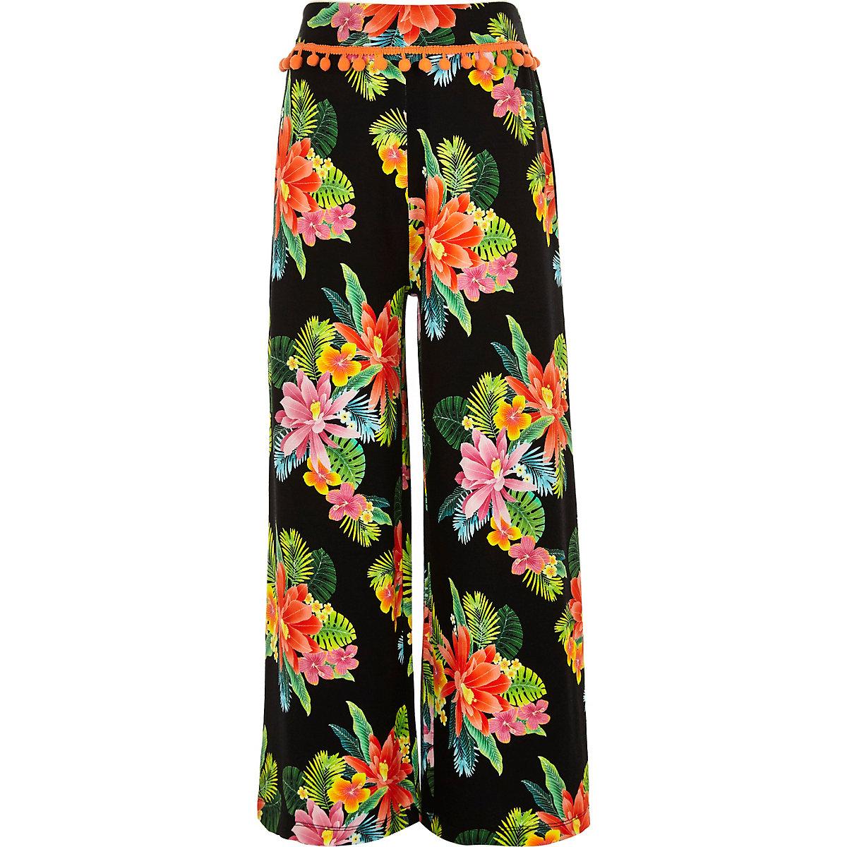 Girls black wide leg floral print pants