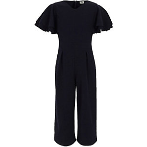 Girls navy frill sleeve culotte jumpsuit