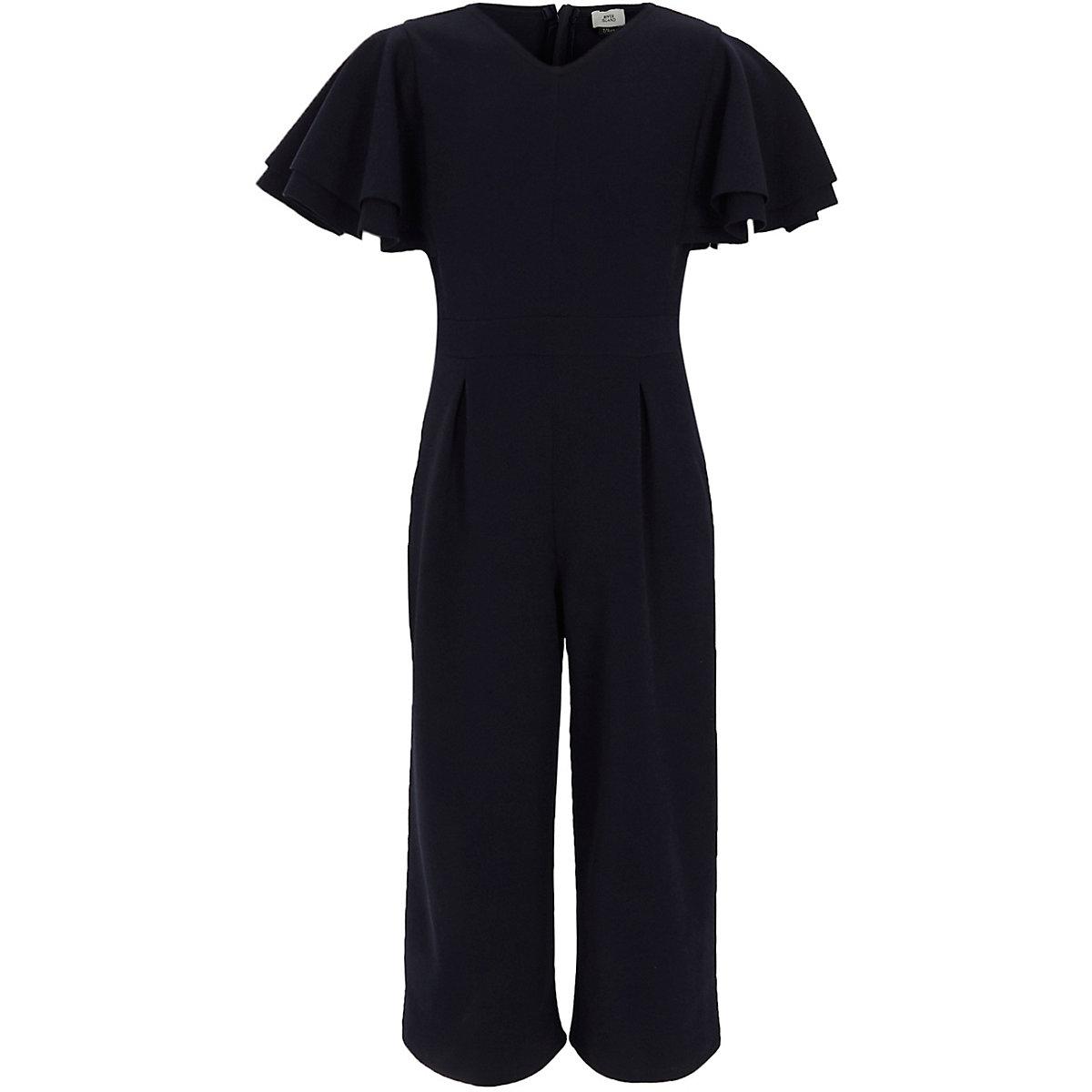 Girls navy frill sleeve culotte jumpsuit