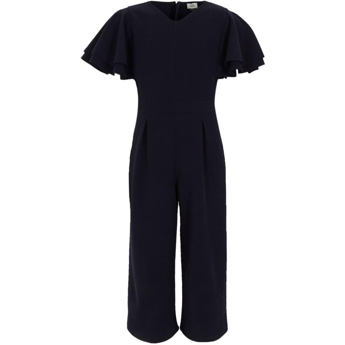 Combinaison jupe-culotte bleu marine avec volant aux manches pour fille