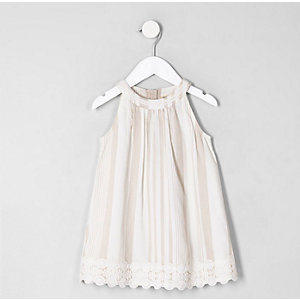 Mini girls brown stripe trapeze dress