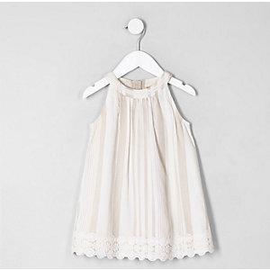 Mini girls brown stripe trapeze dress