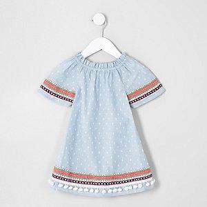 Mini girls blue trapeze dress