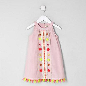 Robe trapèze rose à pampilles pour mini fille