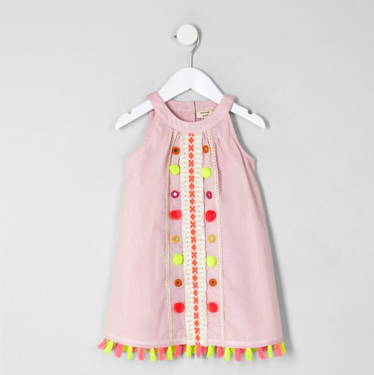 Mini girls pink tassel hem trapeze dress