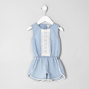 Mini girls blue pom pom trim denim playsuit