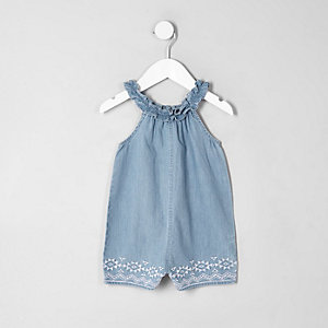 Mini girls denim trapeze playsuit
