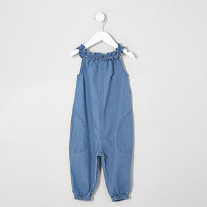 Mini girls blue denim romper jumpsuit