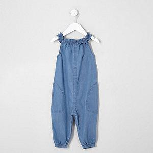 Combi-short en denim bleu pour mini fille