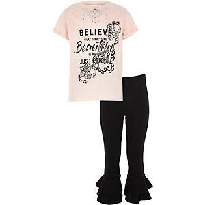 Roze outfit van 'believe'-ketting en T-shirt voor meisjes