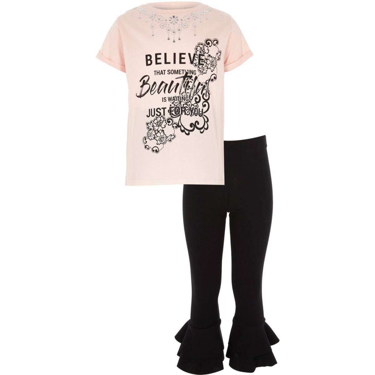 Girls pink 'believe' necklace T-shirt outfit