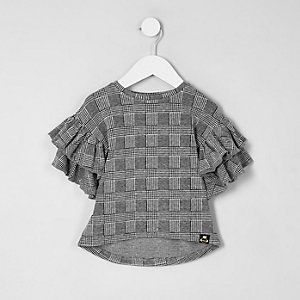 Mini girls check frill sleeve top