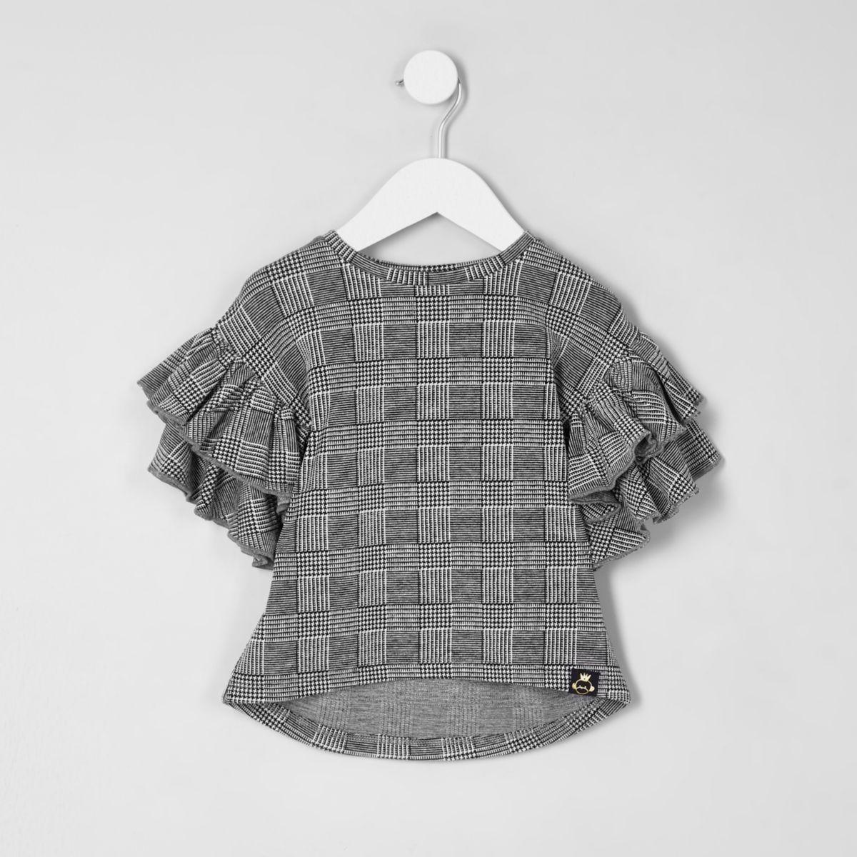 Mini girls check frill sleeve top