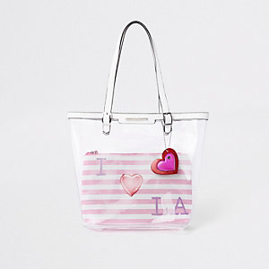 Girls pink clear 'I love LA' shopper
