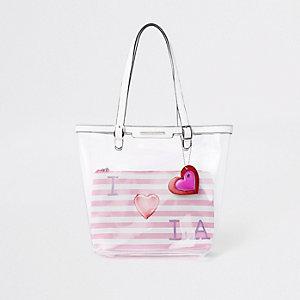 Cabas «I love LA» rose transparent pour fille