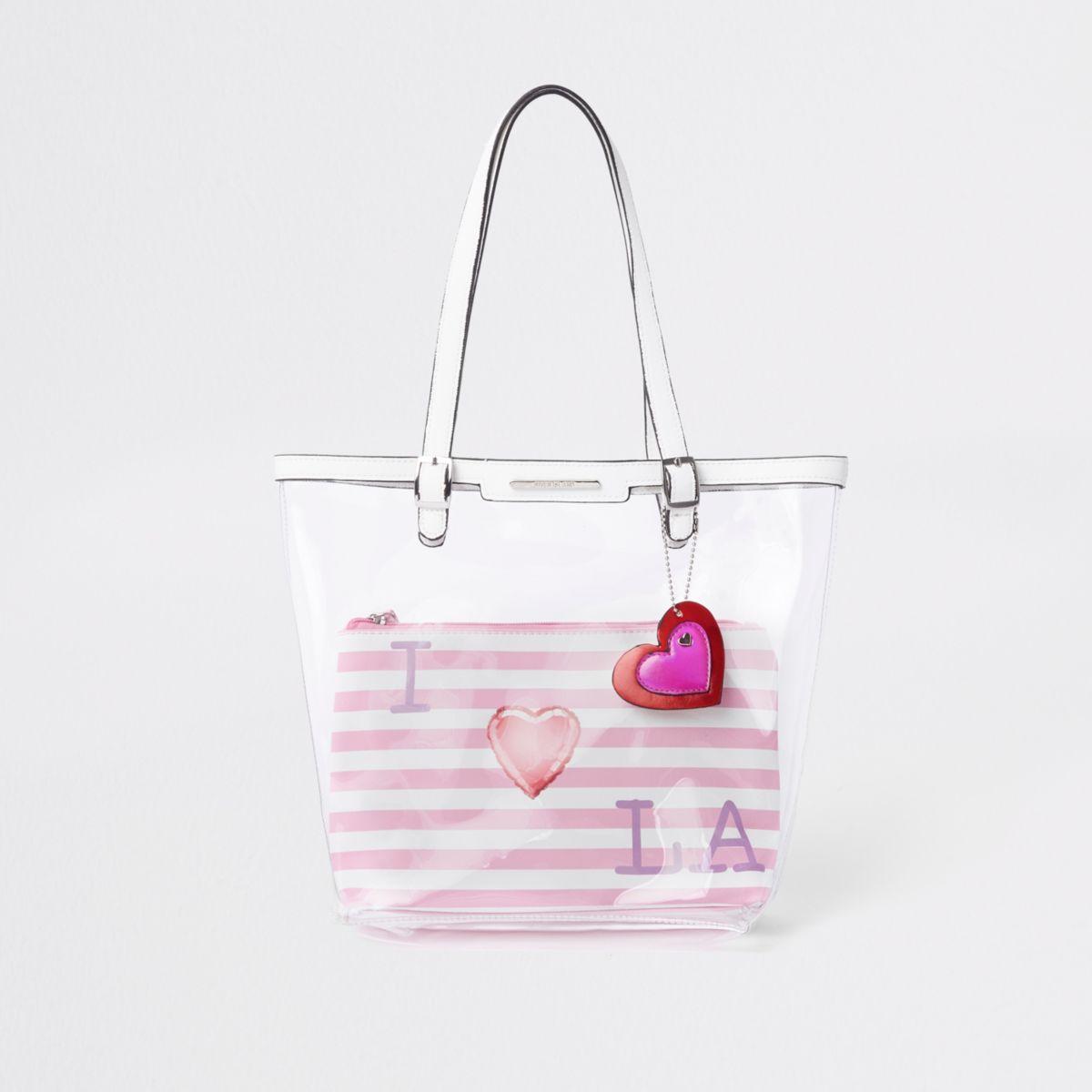 Girls pink clear 'I love LA' shopper