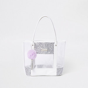 Girls silver clear glitter shopper