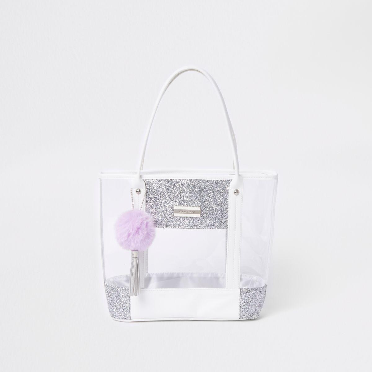 Girls silver clear glitter shopper bag
