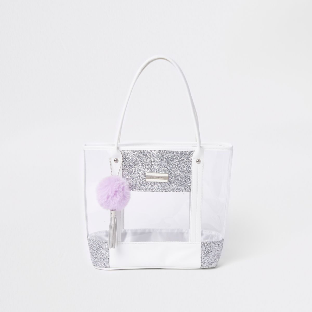 Girls silver clear glitter shopper