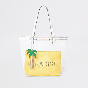 "Gelber, transparenter Shopper ""Paradise"""